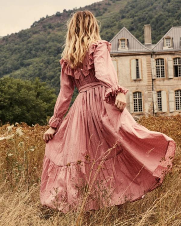 Women Elegant Pink Ladies Dress