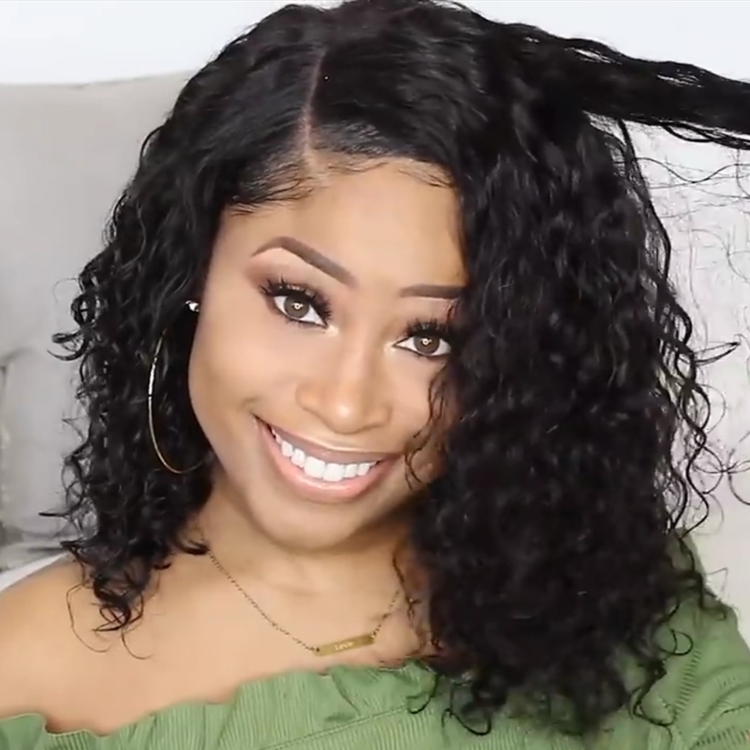 Brazilian Remy Hair Wet Wavy Lace Front Curly Wig