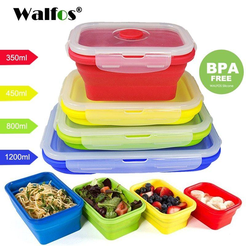 folding silicone lunch box food storage container kitchen microwave tableware p
