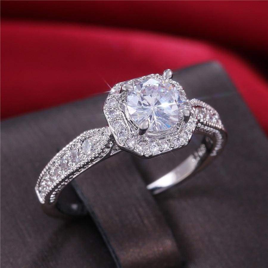 Sparkling Sterling 925 Silver Natural White IF Diamond Engagement Wedding Band Rings for Women Finger Jewelry