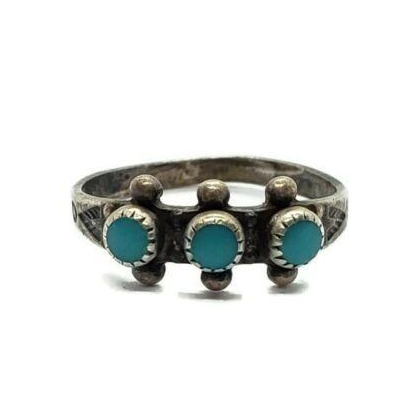 Bell Trading Post Southwestern 925 Sterling Silver Turquoise Ring Size 5.5