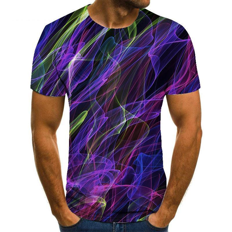 Men's Plus Size T-shirt 3D Graphic Flame Tops Basic Round Neck Purple Red Yellow / Short Sleeve