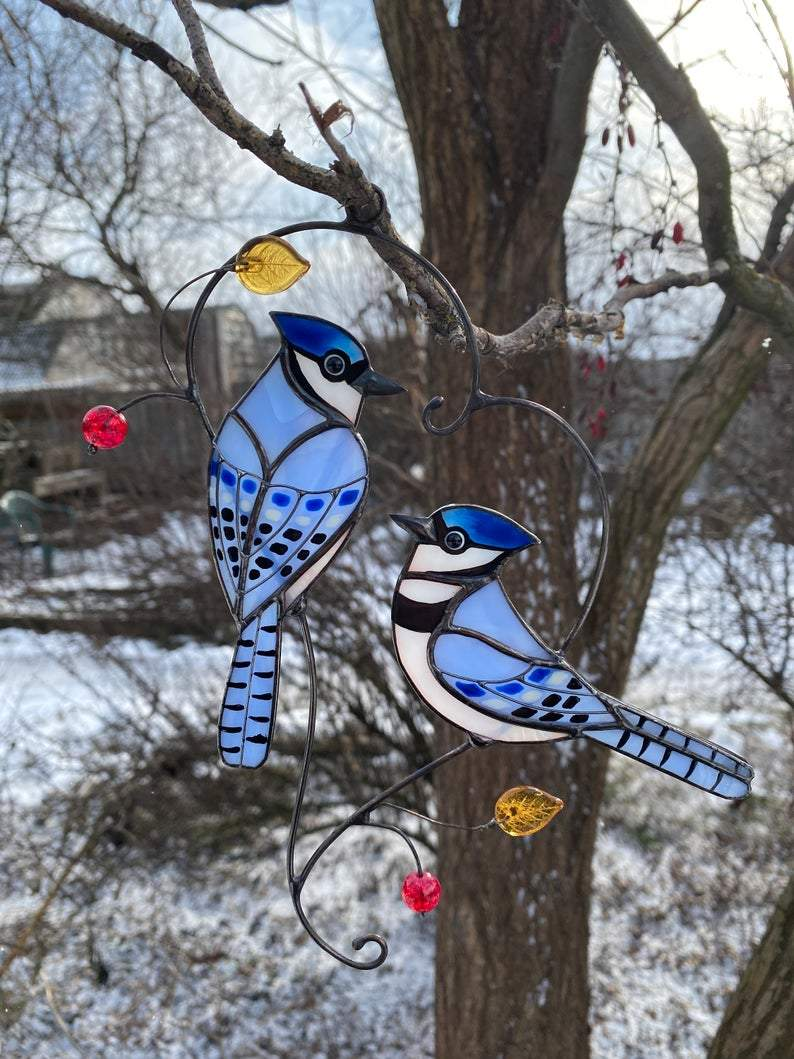 Blue Jay Stained Glass Window Hangings Stained Glass Birds Suncatcher Mothers Day Gift