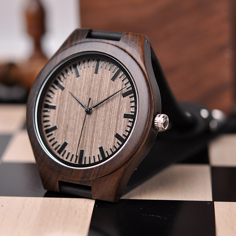 BOBO BIRD Men Wooden Quartz Wrist Watch With Back Engraved - To My Boyfriend- With Leather Strap For Great Gift For  Boyfriend