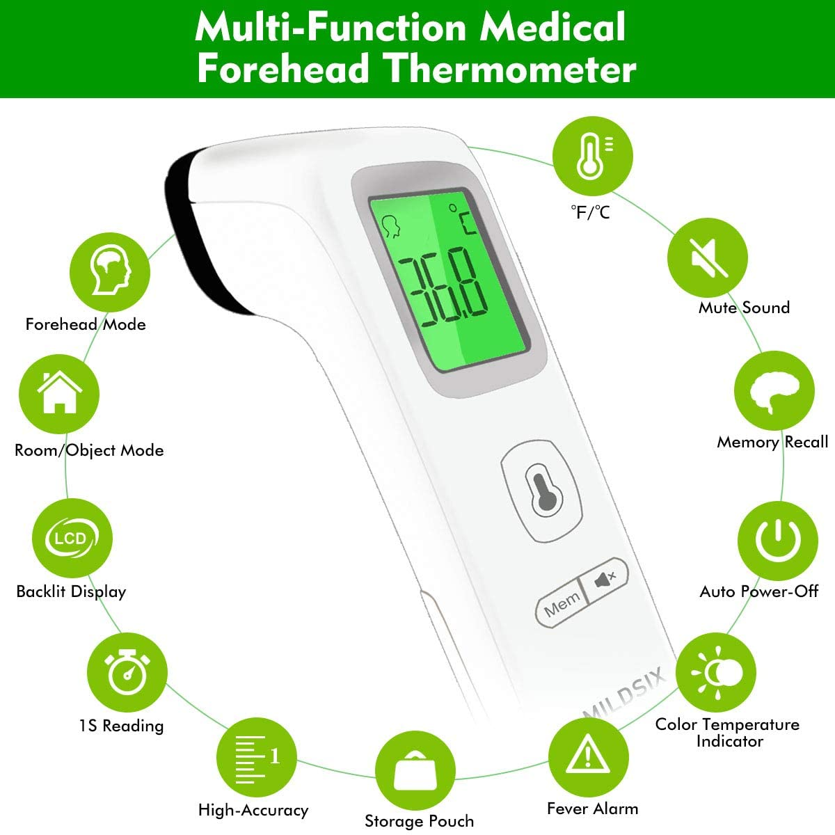 24-Hour Fast Shipment Non-Contact Temporal Thermometer with Instant Accurate Reading