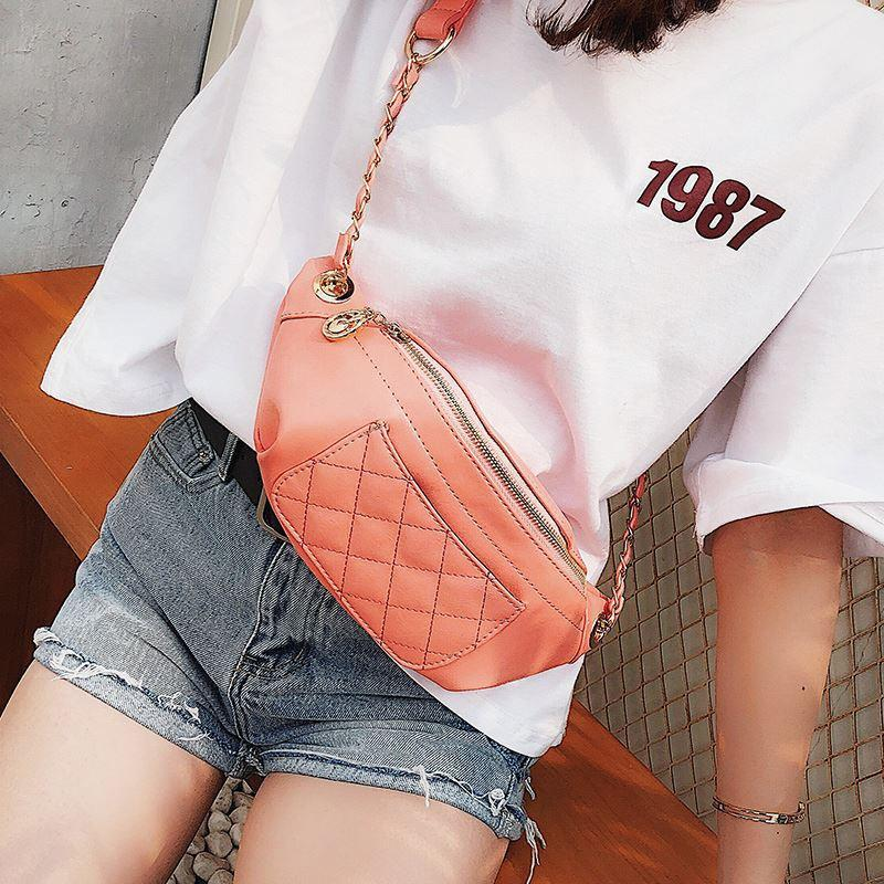 Single Shoulder Crossbody Women Leather Chain Small Waist Bag Nice Design Belt Bags-1.9