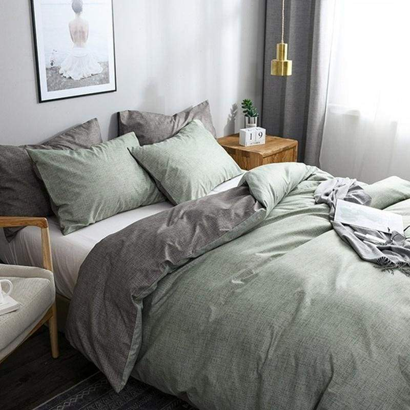 Solid Color Duvet Cover & Pillow Shams Set Soft Brushed Fabric Single Twin Double Full Queen King 10 Size Grey Blue Pink Green