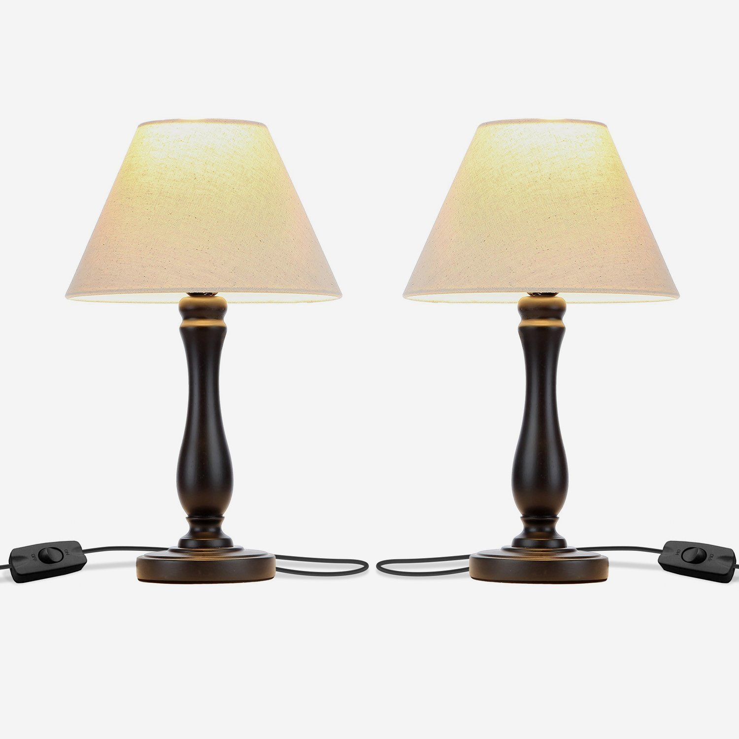 Noah LED Side Bedside Table & Desk Lamp Twin Pack: Traditional Black Wood Base