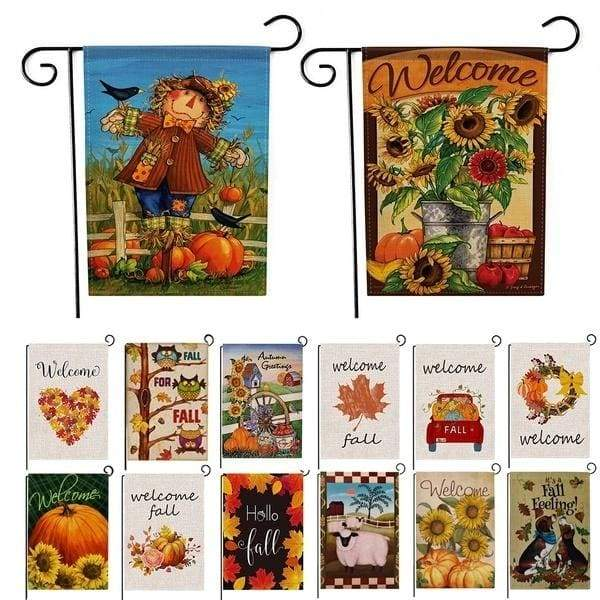 Autumn Pumpkin Series Wellcome Fall Garden Flag Indoor Outdoor Home Decor Colorful Garden Flag Welcome Flag