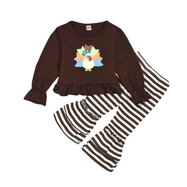New arrived 2019 Thanksgiving Day girls suits turkey baby outfits long sleeve Tops+stripeflared trousers kids designer clothes girls A8352