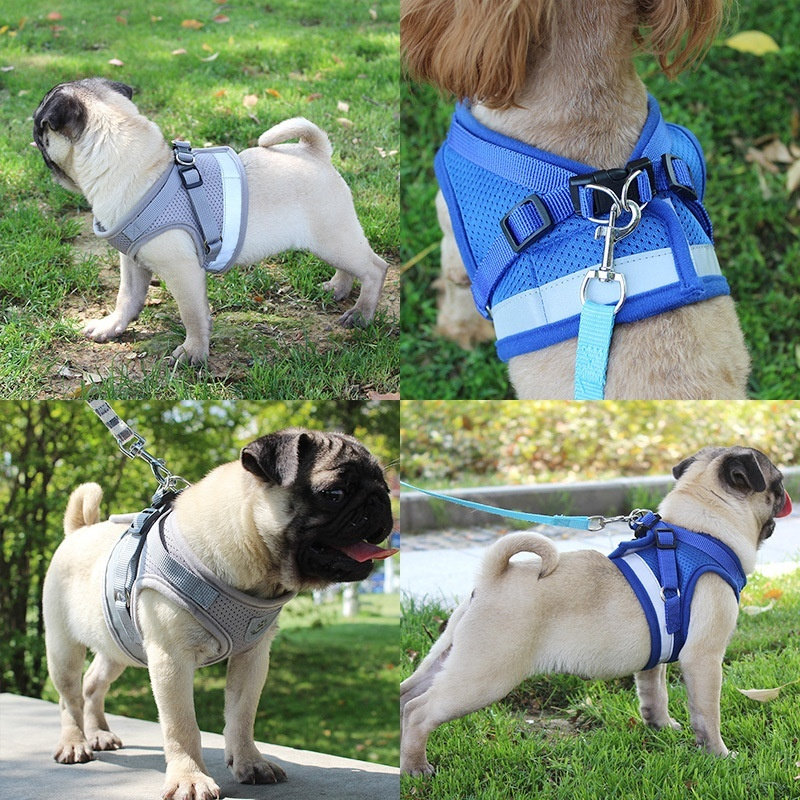 Dog Harness for Chihuahua Pug Small Medium Dogs Nylon Mesh Puppycat Harnesses Vest Reflective Walking Lead Leash Pet Sets