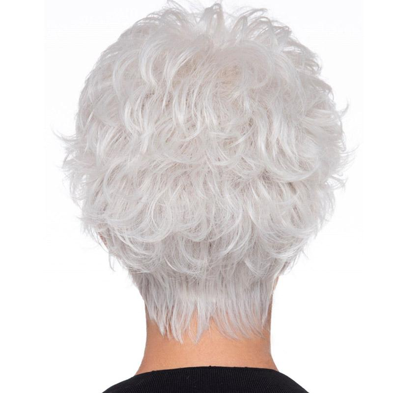 KAMI 110 Silver White Pixie Cut Short Wigs Curly Layered Feminine Fluffy Wig with Bangs for Old Lady