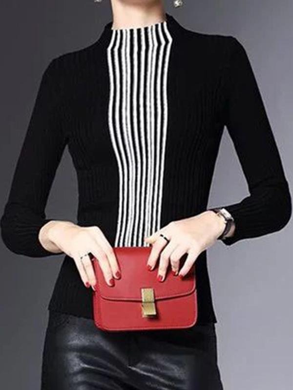 Half High Collar Stripe Close-fitting Knitted Sweater