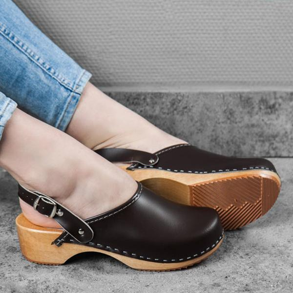 Lalarosa Faux Leather Clogs Strap Buckle Wooden Sole Sandals