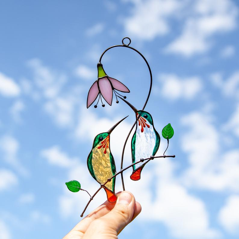 Stained Glass Lovebirds Window Hangings Decor
