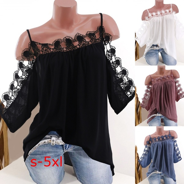Women Fashion Short Sleeve Tops Sexy Off Shoulder Lace Collar Blouse Summer Loose Solid Color T Shirt