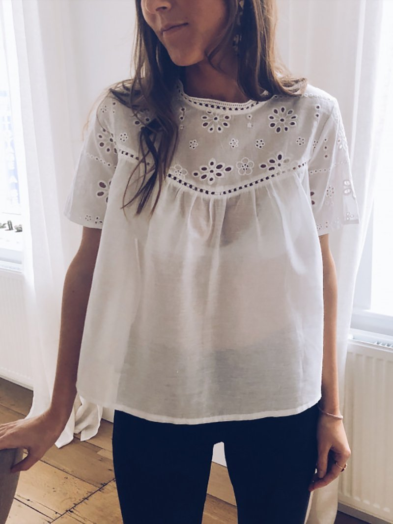 Casual Round Neck Short Sleeve See-Through Hollow Out Pure Colour T-Shirt