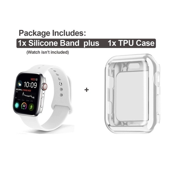 2019 High Quality Soft Silicone Sport Strap Replacement Band with Screen Protector Cover Case Compatible with IWatch 38/40/42/44MM IWatch Series 1/2/3/4