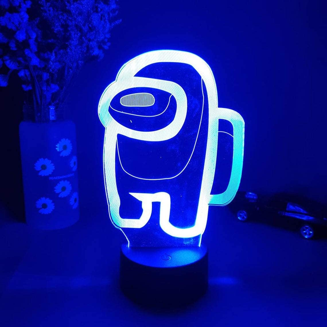 Among Night Light Game Table Lamp 3D Illusion USB Powered 7 Colors LED Lights with Touch Switch for Kids Gifts Bedroom Decoration-Free shipping