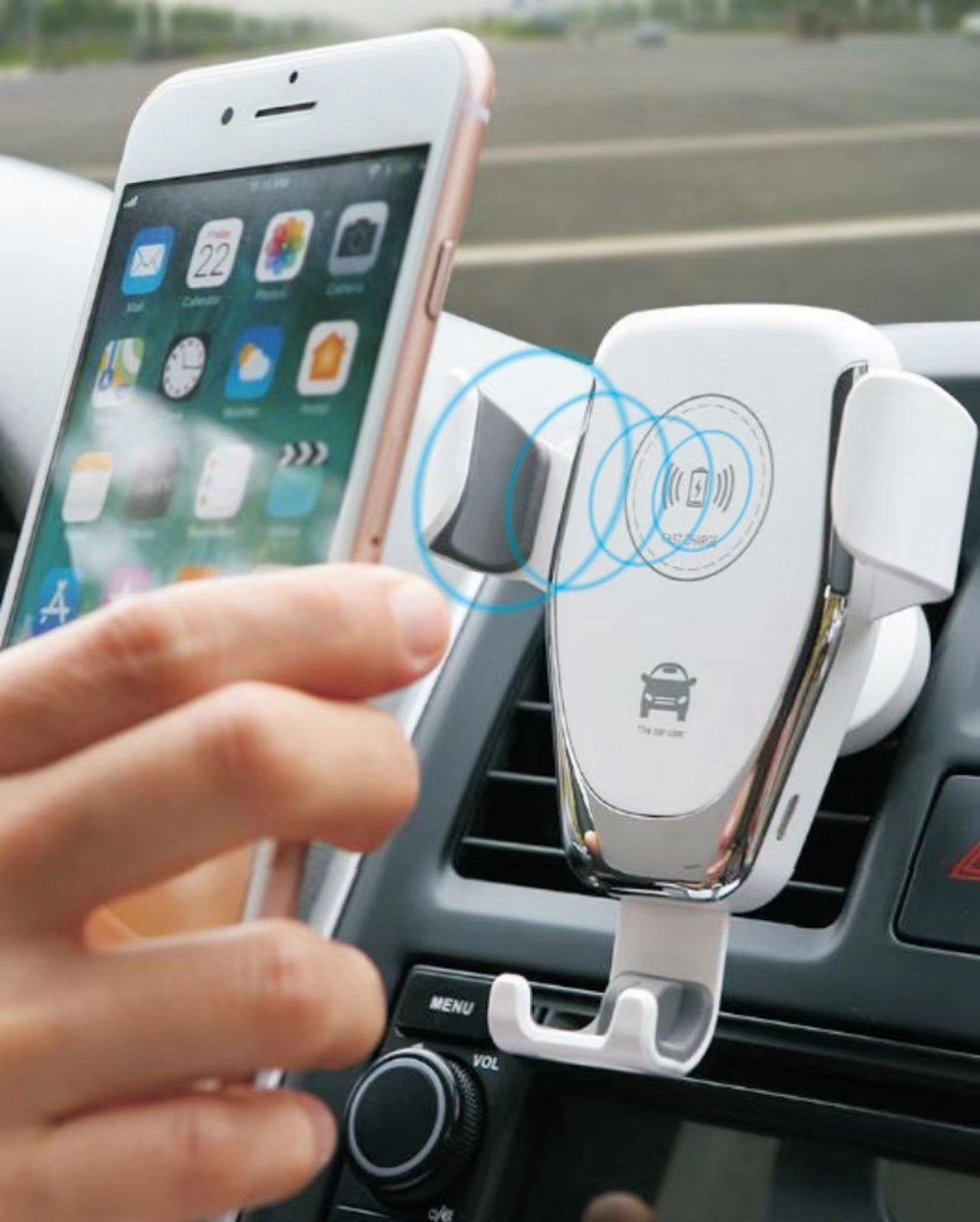 Arosetop  Automatic Clamping Wireless Car Charger Mount Fast Charging Stand for iPhone & Android