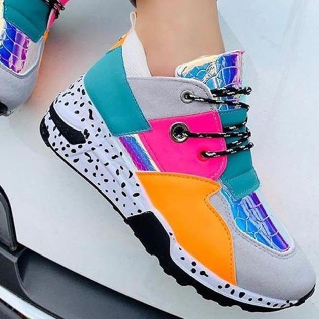 Women's patchwork colorful sneakers breathable running shoes