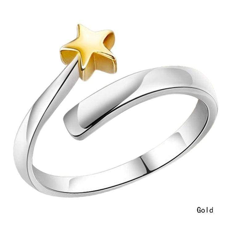 Fashion 925 Sterling Silver Gold Star Opening Adjustable Couple Rings Gifts