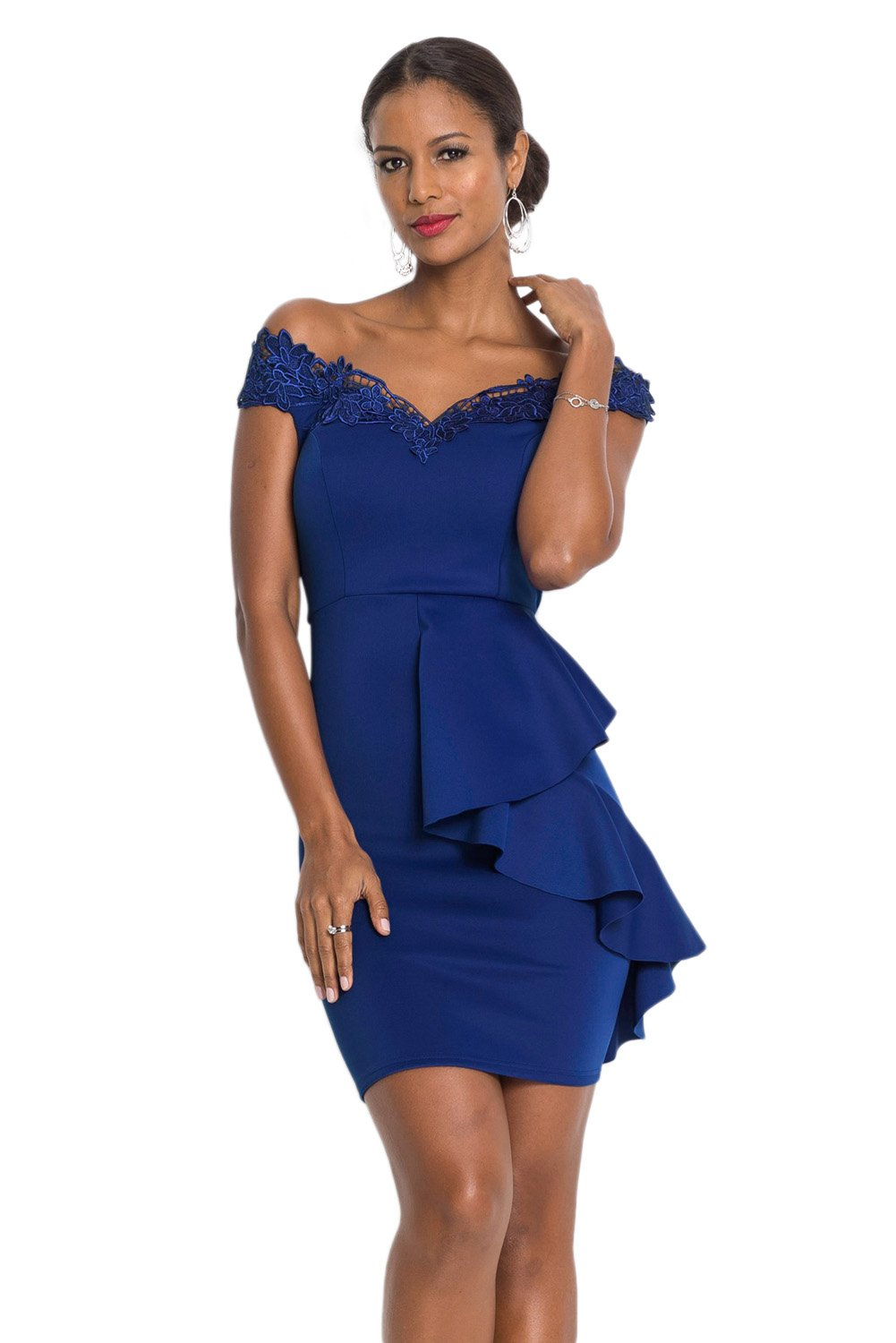 Women Clothing Designers The Best Blue Embroidered Off Shoulder Neck Cascading Mini Dress