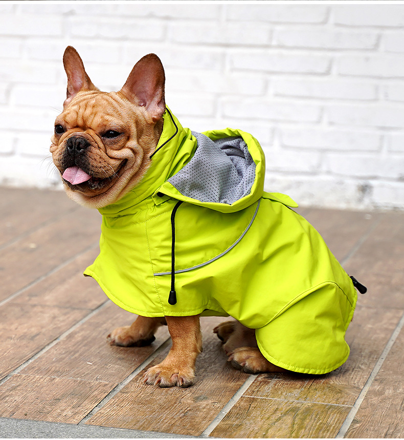 Dog Raincoat Ajustable Pet Waterproof Clothes Lightweight Rain Jacket Poncho Hoodies with Strip Reflective