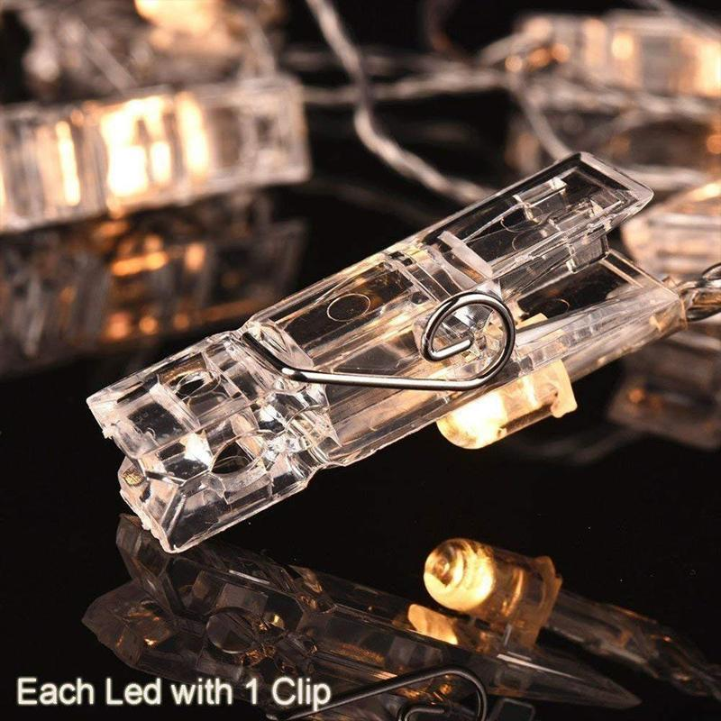 20 LED Bendable Battery Powered Firefly Photo Clips String Lights
