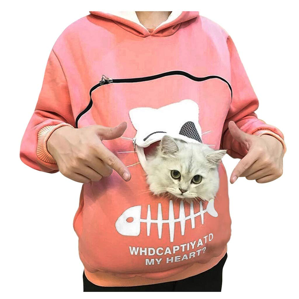 Hoodie with Cat Pouch for Pet Lovers