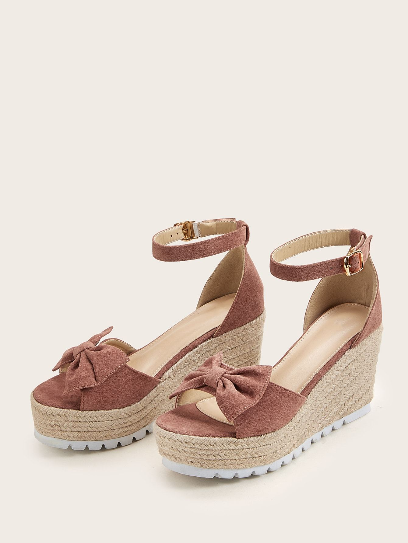 Bow Decor Ankle Strap Espadrille Wedges