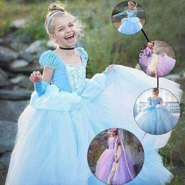 New Flower Princess Cinderella Sofia Rapunzel Dresses Full Ball Gown Long Party Dress Kids Cosplay Christmas Halloween Costume Masquerade