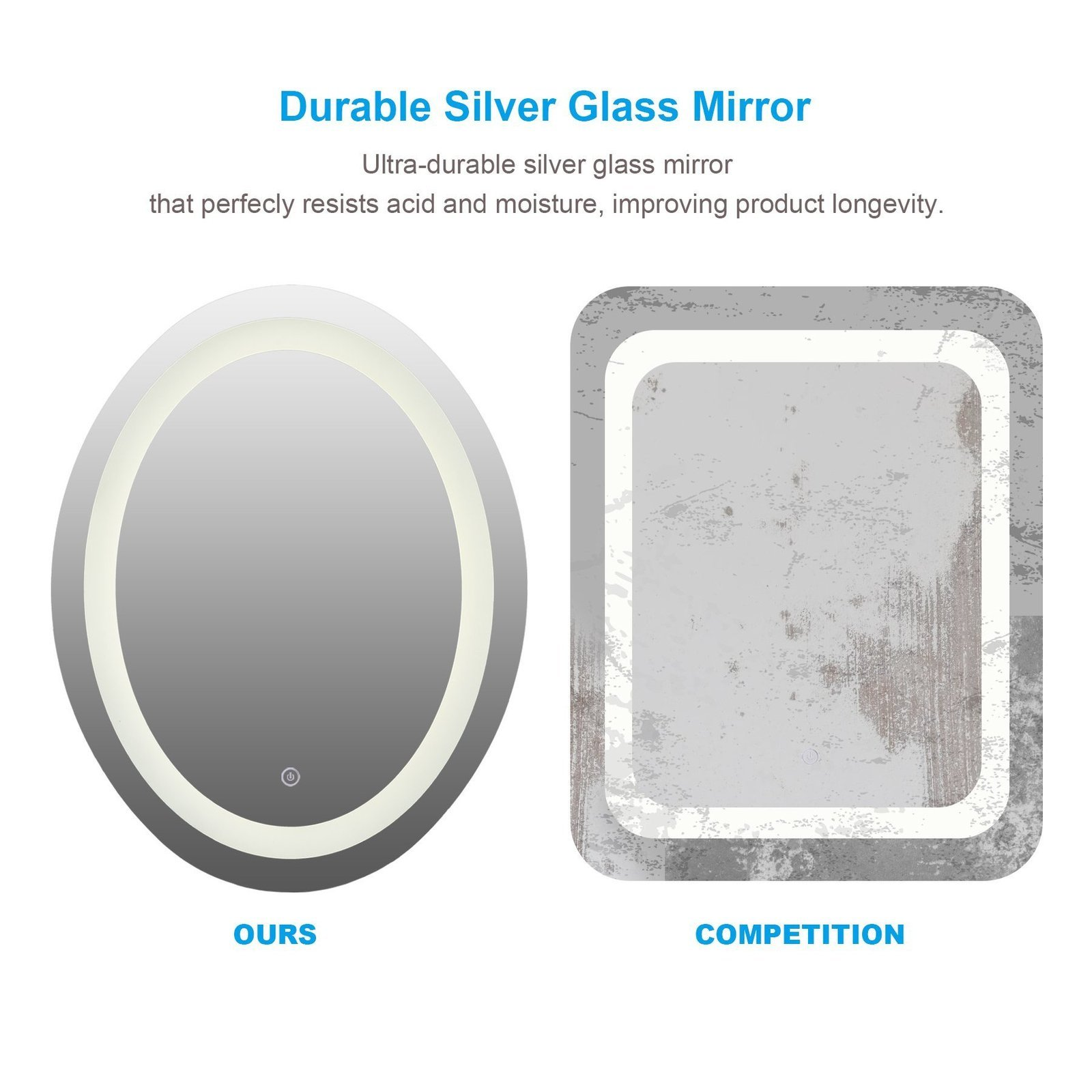 LED Wall Mounted Bathroom Mirror with Dimmable Touch Dimmer Makeup Vanity Mirror
