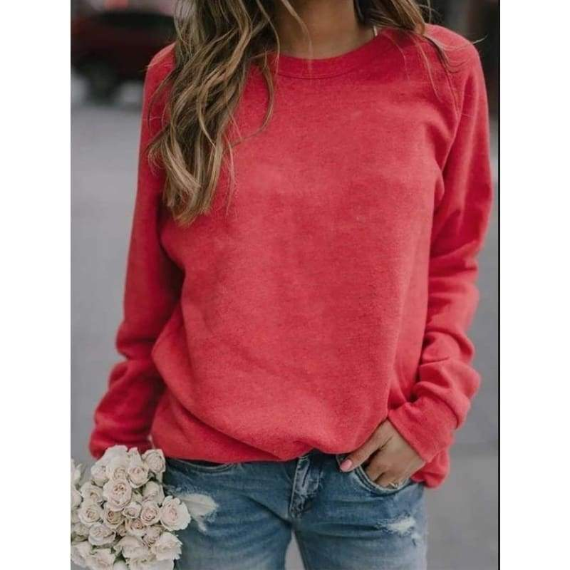 NEW Women Fasion Autumn and Winter Solid Color Long-Sleeved Shirt Round Neck Top Loose Casual T-shirt Plus Size S~5XL