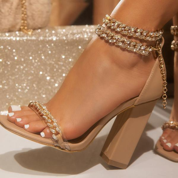 Zoeyootd Gold-Tone Chain Embellished Ankle Strap Chunky Heels