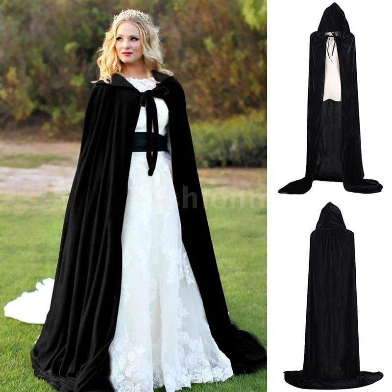 Wine Red Black Velvet Hooded Cloak Wedding Cape Halloween Wicca Robe Coat Witches Princess Death Long Cape