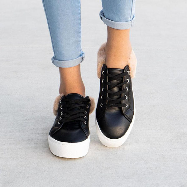 Faddishshoes Trendy Fur Trimmed Sneakers