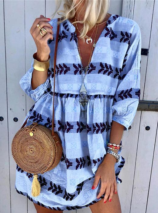 Fashion Print V-neck Cropped Sleeve Casual Dress