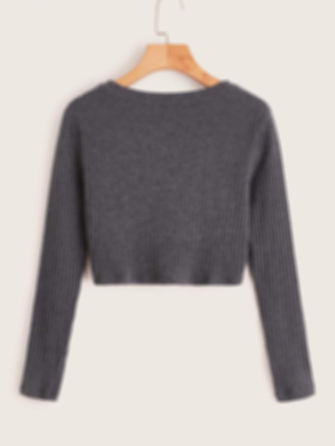 SHEIN Solid Twist Front Rib-knit Top