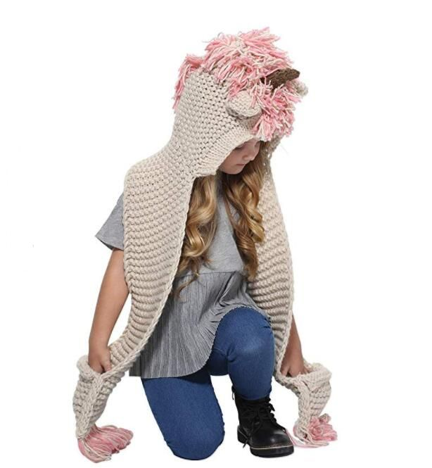KNITTED UNICORN HATS WITH SCARF SET WINTER WINDPROOF - BEST SELLER