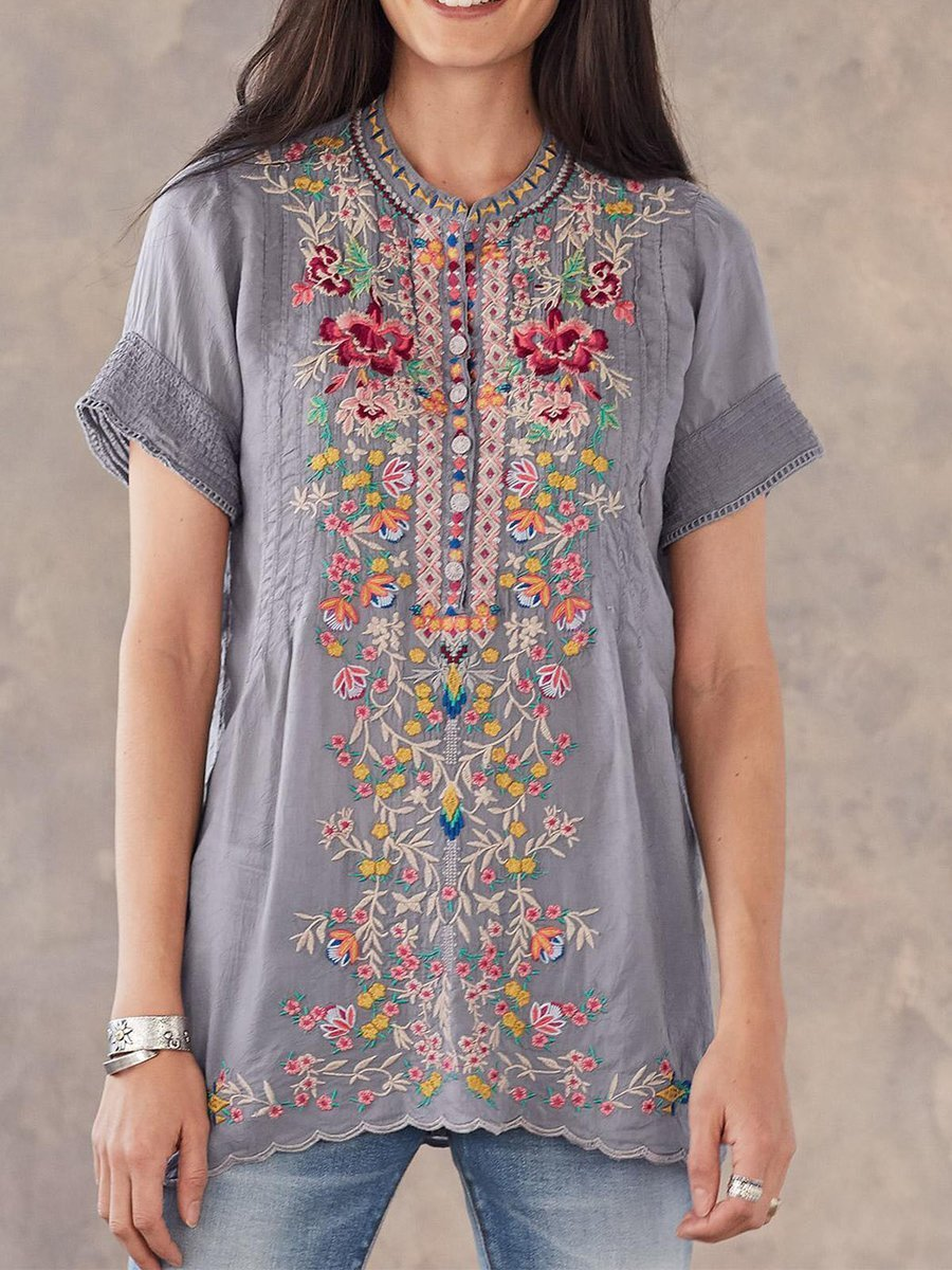 Gray Round Neck Casual Floral-Print Blouse