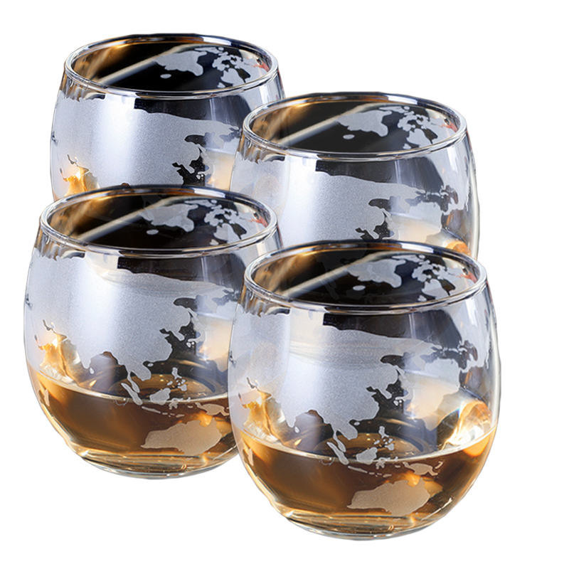 Whiskey Decanter Globe Set with Etched Globe Whisky Glasses