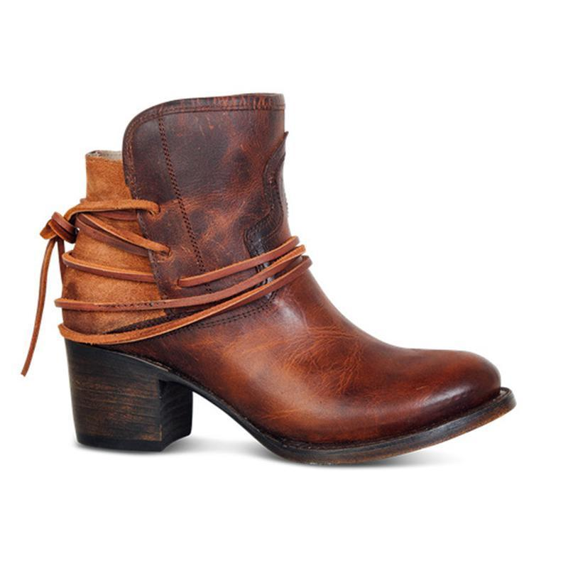 Women Booties Vintage Chunky Back Lace Up Boots