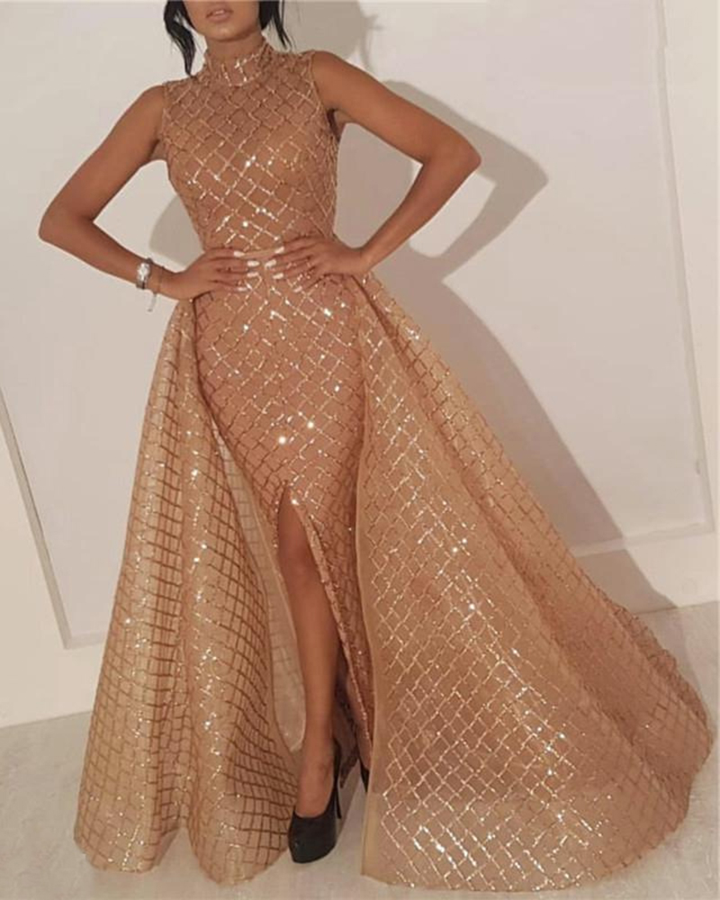 Fashion Sequined Sleeveless Evening Gown