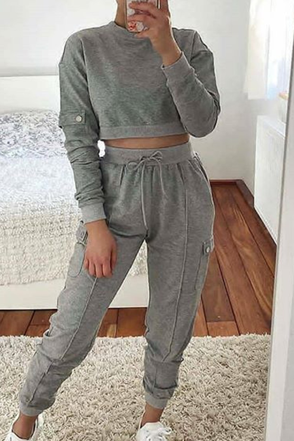Solid Color Round Neck Long Sleeve Set