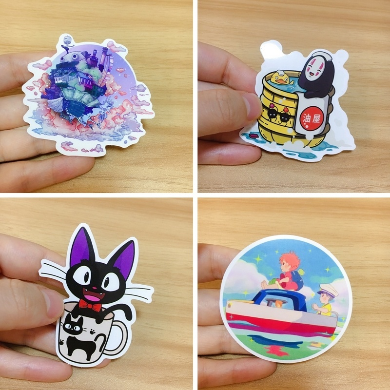100 Pcs Hayao Miyazaki Anime Sticker For Notebook Luggage Car Totoro  Howl's Moving Castle PVC No Repetition Sticker