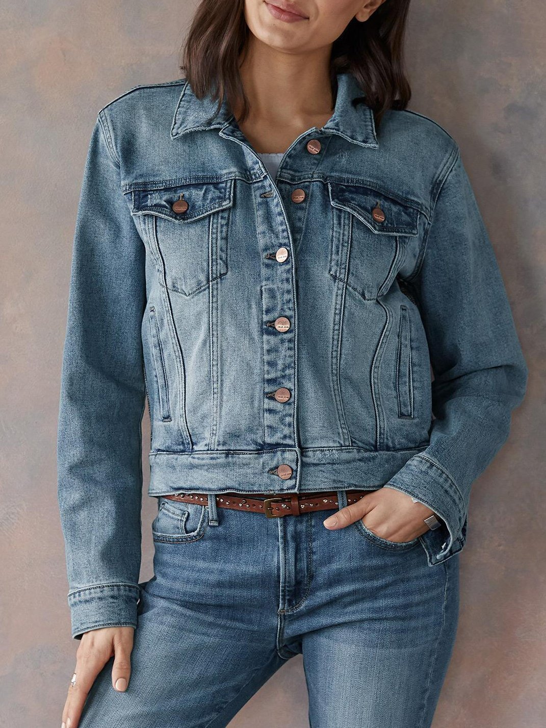Fashion check split joint slim plain denim coat