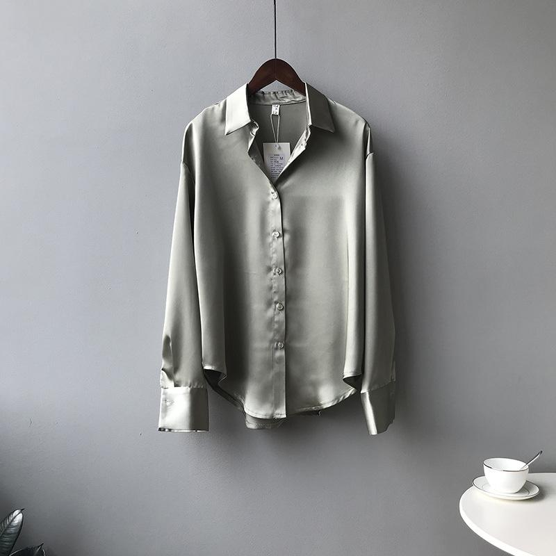 Women's Solid Color Loose Long-sleeved Lapel Shirt