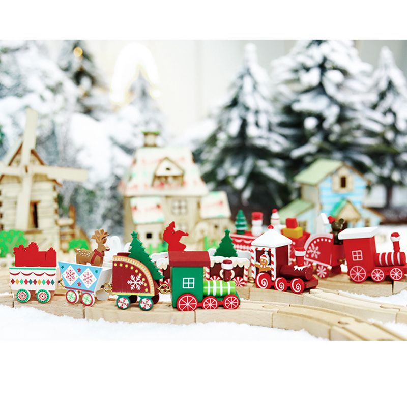 Cute Wooden Mini Train Ornaments Kids Gift Toys for Christmas