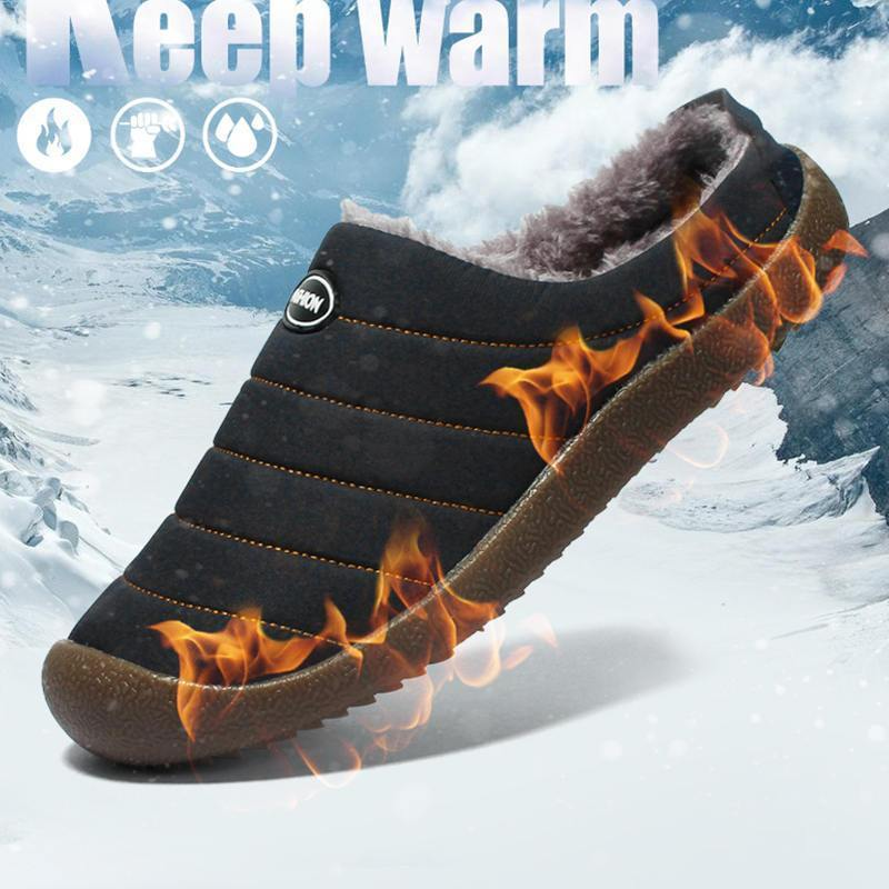 Men's Casual Fashion Solid Waterproof Soft Warm Slippers